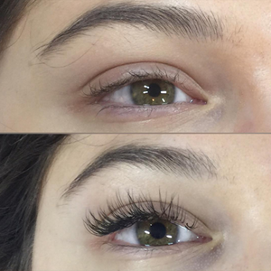 A client before and after eyelash extension application. This client had a successful...