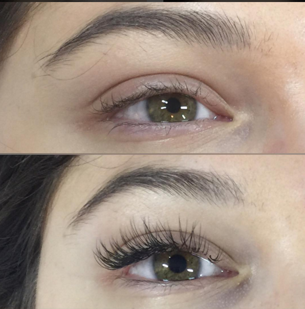 A client before and after eyelash extension application. This client had a successful consultation that concluded she would be a great candidate for lash extensions. (photo credit: Lindsey Rae Joslyn-Rohner)