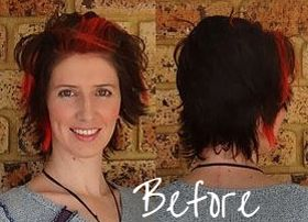 Jo Dunham's before shot with permanently colored black hair with a red streak.