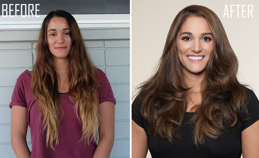 BEFORE  & AFTER: Brassy, Grown-out Ombre to Soft Healthy-Looking Brunette