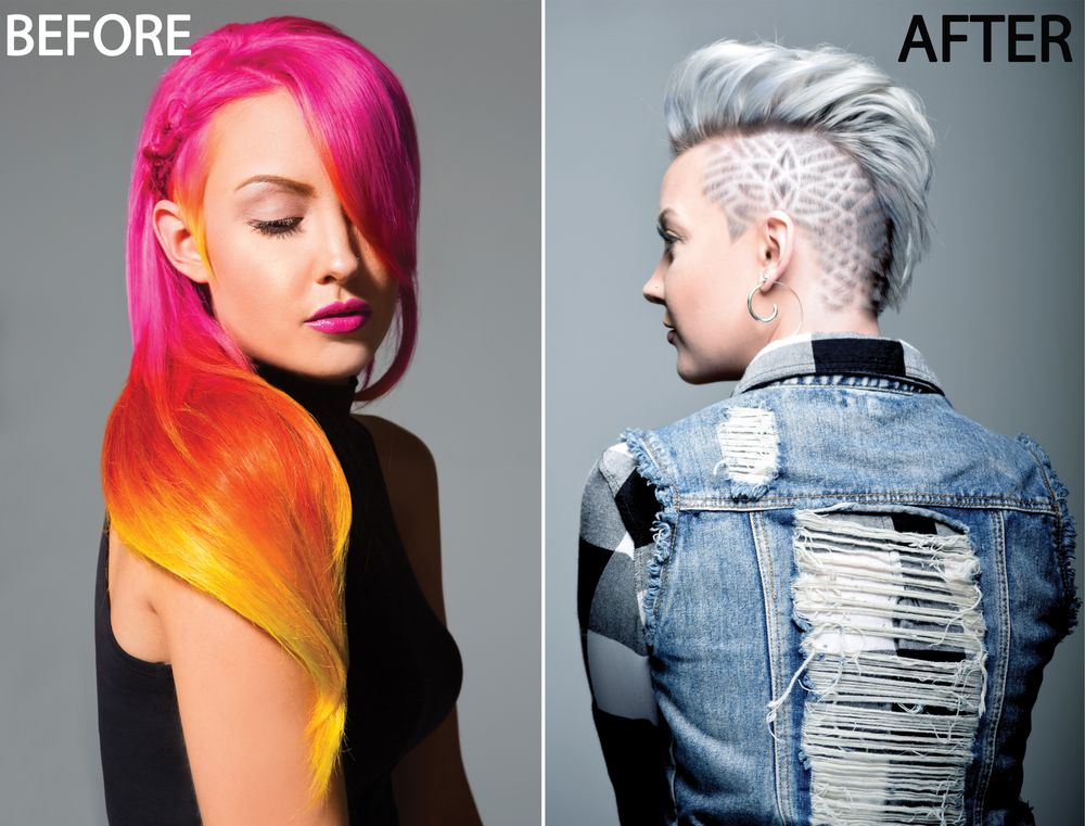 BEFORE and AFTER. MODEL: Jacquelyn Marie Hastings, Bii Hair Salon Senior Hair Artist