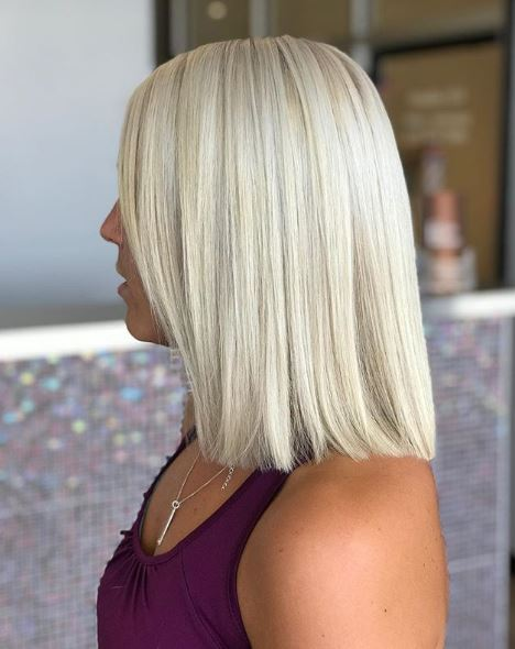 This particular platinum version of a lob reminds us of when Kim K rocked the trend earlier this summer.