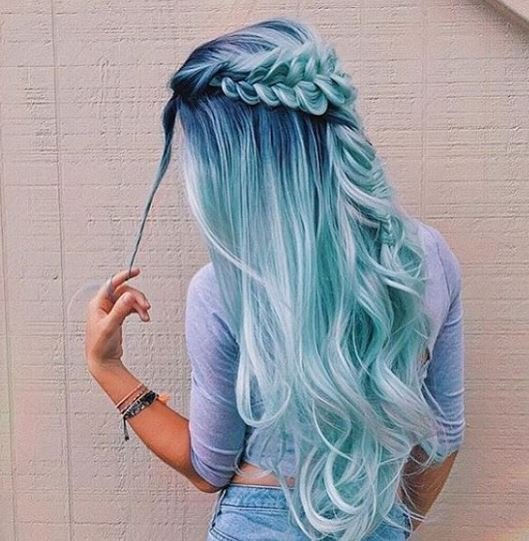 This frosted blue boho look is major hair goals.