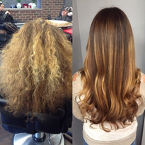 HOW-TO: Frizzy and Brassy Hair Transformed with Balayage Highlights Using Olaplex