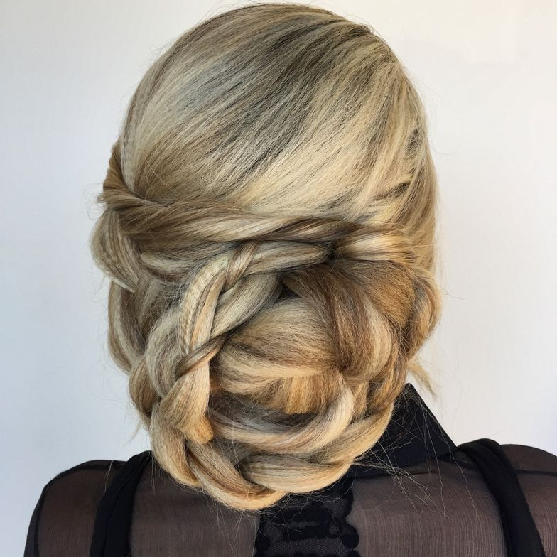 <p>Big, fat wedding hair, using zero hair pieces.</p>