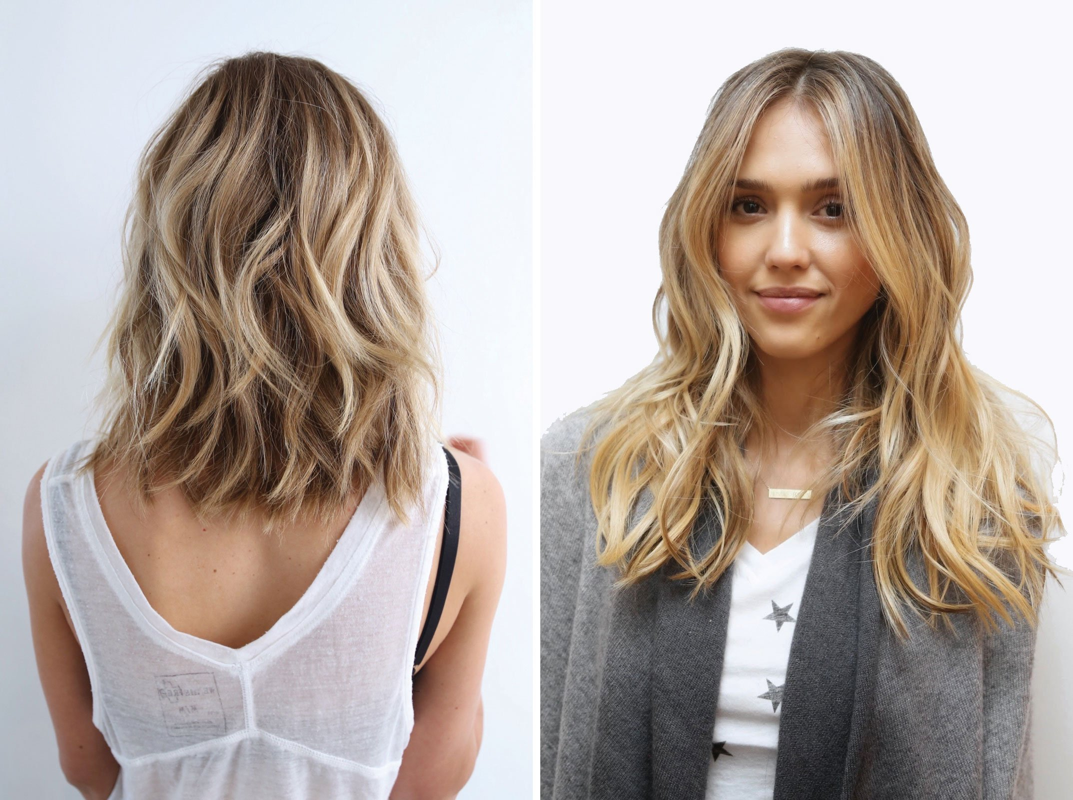 Johnny Ramirez created a beachy bronde with cool tones for the client on the left, while for Jessica Alba's bronde he went for a sophisticated take on the trend by applying the brighter tones primarily to the ends.