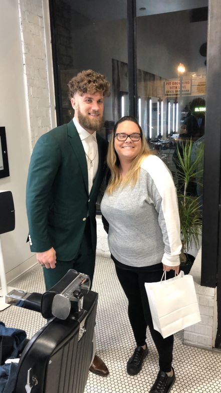 Bryce Harper and a fan at Blind Barber