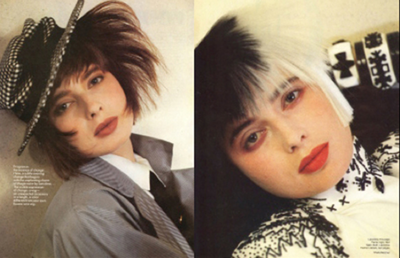From a 6-page mid-'80s editorial in American Vogue, here's Isabella Rossellini with wigs cut and styled by John Sahag. | Makeup: Sophie Levy