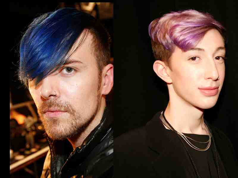 Left: Blue hair (Manic Panic Rockabilly Blue) falling over one eye on Mac makeup artist, Corey Sanders backstage at Adina Cohen #NYFW Fall 2015 show. Right: Lucas Giadeno backstage at the Mongol show, lilac shaded hair, subtle but interesting.