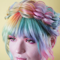 Caralee Fox Pridemore accents this crown bushel braide with Hairtalk's Bang In fringe, custom...