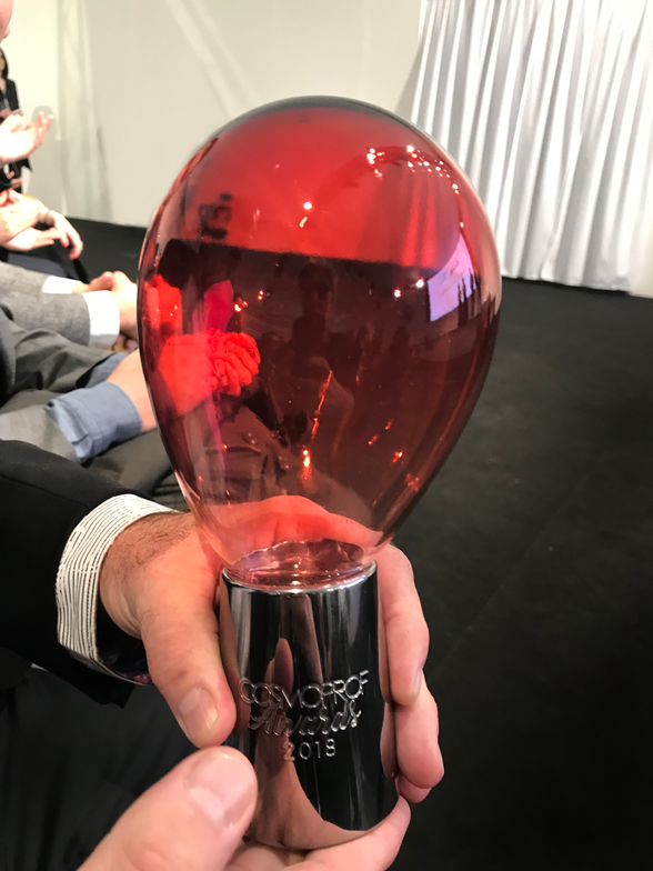 Andrew Bartfield, Celeb Luxury VP General Manager shows off hisTop Hair Product for 2018 Award.