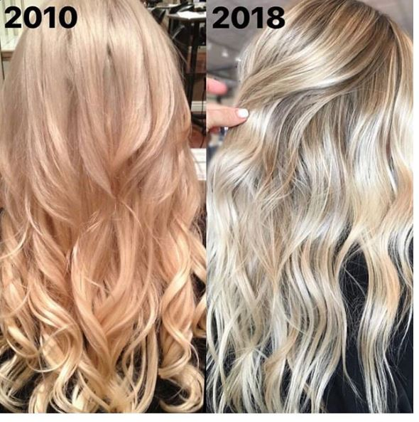 """Instead of posting myself 10 years ago and now, I am posting hair I did nearly 10 years ago, and hair I did recently. 💕 PS: this is not the same client!"""