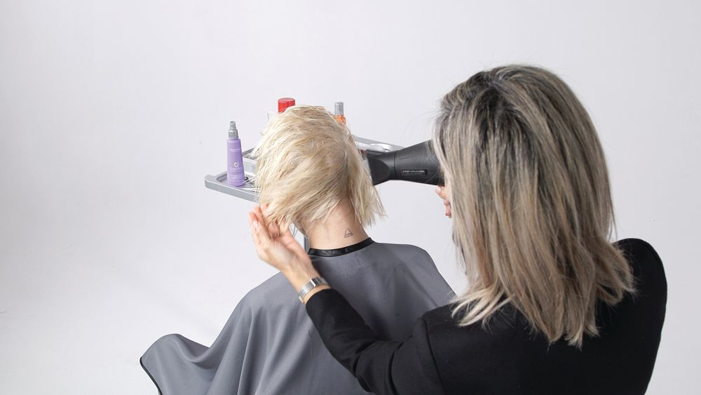 STEP 4: Begin blow drying in the back profile, drying the hair forward to encourage movement in the back.