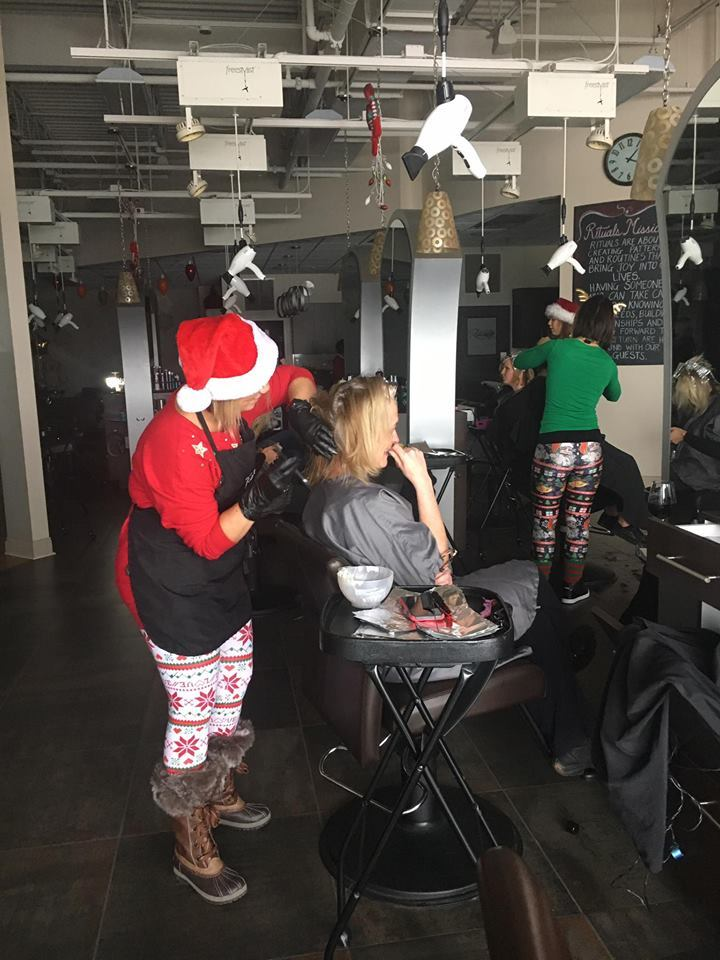 The team at Rituals Salon-Spa color clients in the dark when a snowstorm leaves them without power during a holiday promotion.