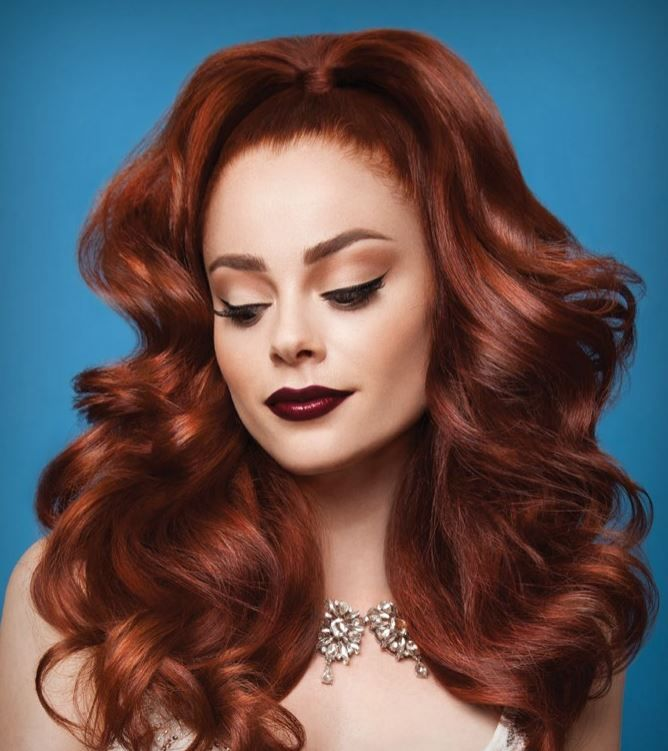 Rad Red: COLORS USED ON MODEL - BASE: 6RC. MID-LENGTH-TO-ENDS: 7C + 1 DOSE COPPER COLOR BOOST.