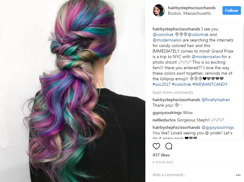 @hairbystephscissorhands's rainbow taffy swirl.