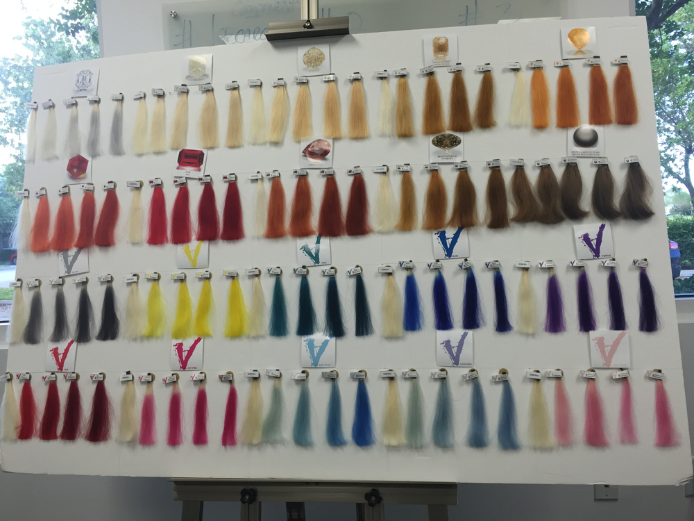 Celeb Luxury created these swatches in its onsite laboratory to showcase the results achievable through its Colorwash system--when alternating WITH Shinewash and Moisturewash, and when used without alternating.