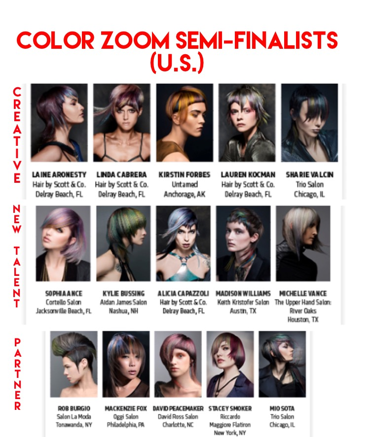 Goldwell's 2017 Color Zoom Semi-Finalists (U.S.) Announced!!!