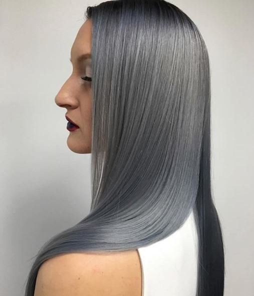This coloring is STEELing our hearts. What a great color combo by @creamcitycoiffure using Power Toners in Steel and Mist from @scrupleshair.
