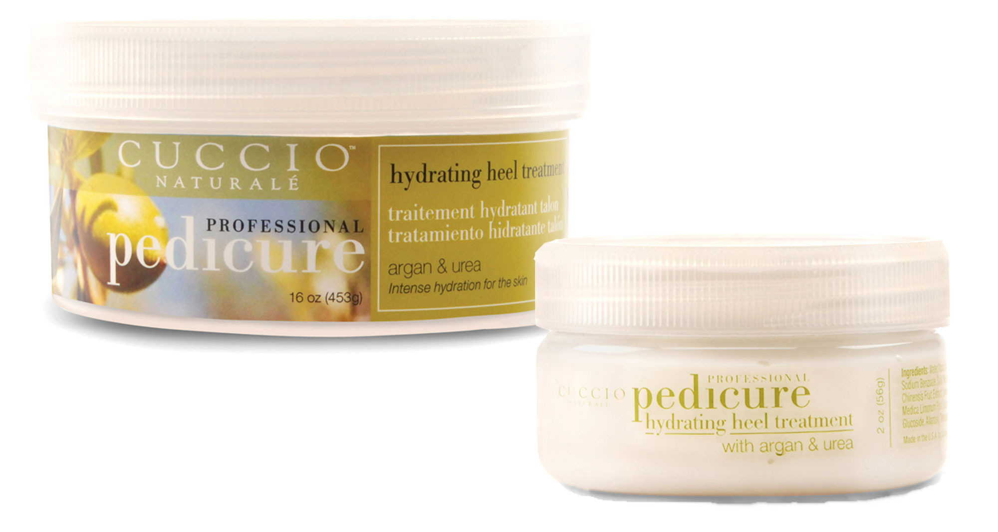 Cuccio Naturale's Hydrating Heel Treatment is available in a 16 oz professional size and a 2 oz size that is ideal for retail. Scents include original and coconut.