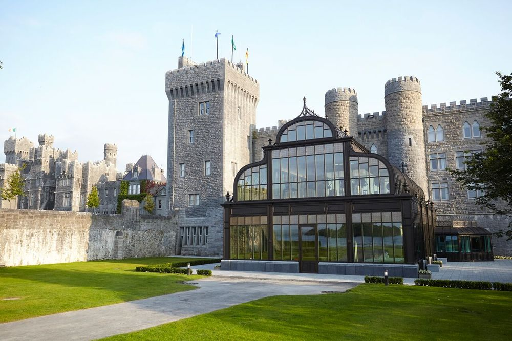 <p>Bathed in natural light with amazing views of the breathtaking grounds, the two-level spa is surrounded by the original castle walls. The designers maintained the old-world feel throughout the spa with elements such as solid burnt oak doors, bronze details, cast-iron embellishments and the Ashford Castle Crest.</p>