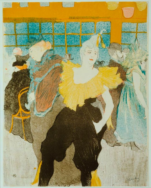 The Clowness at the Moulin Rouge, 1897 by Toulouse-Lautrec. When she was dancing at the famous Moulin Rouge, there was chaos, an uproar. The costume she wore could be fashionable today and we love the hair tied way up there with a yellow ribbon.