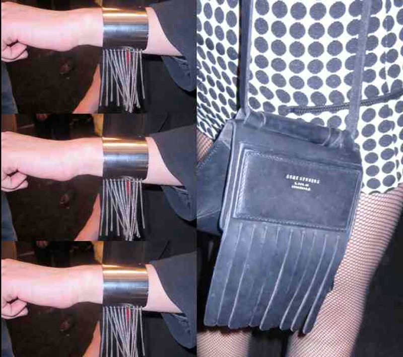 Fringe on everything.  Left: Lucas Giadeno's fringe bracelet, backstage at the Mongol show Right; Fringed over-the-body bag by Acne, worn by Jade Alred, freelance fashion stylist with short mini.
