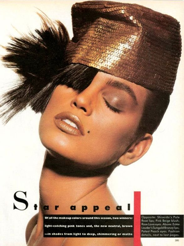"""A 4-page """"Star Appeal"""" makeup  feature for the 1987 Color Report in US Vogue, with Cindy Crawford, one of three supermodels, seen here with hairpieces placed just so, like art by John Sahag. 