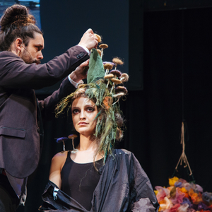 A whimsical avant garde look inspired by nature by Shawn McGrath.