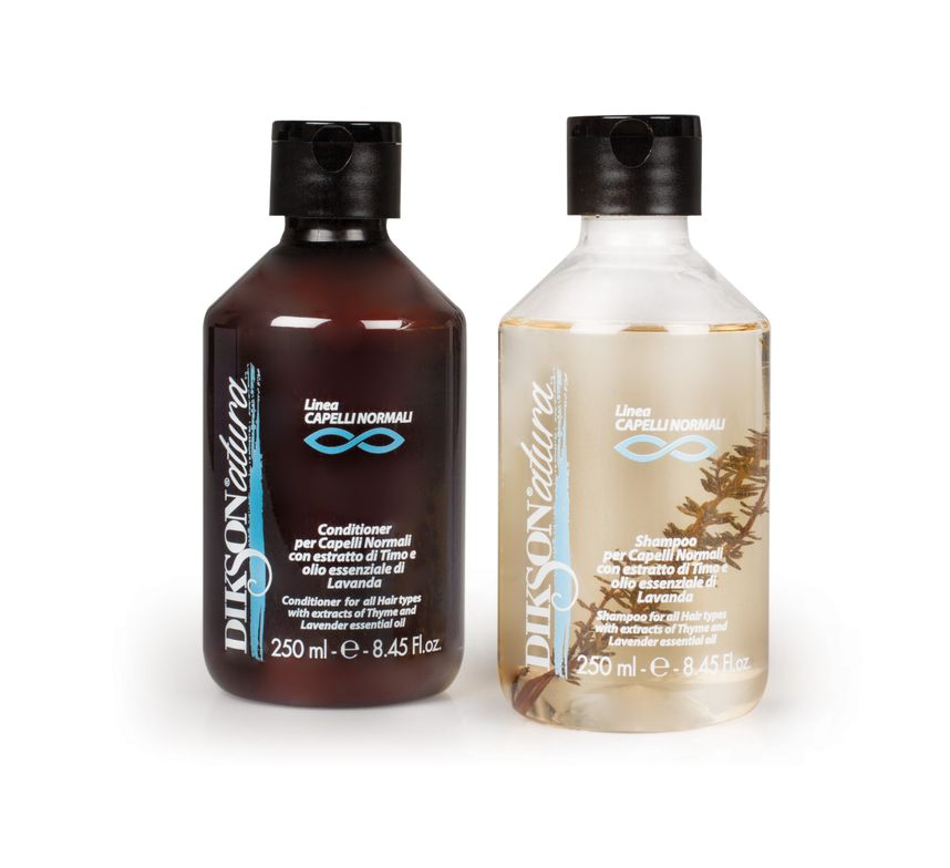For all hair types, this shampoo and conditioner contain thyme, a natural antisepctic and toner for the scalp.