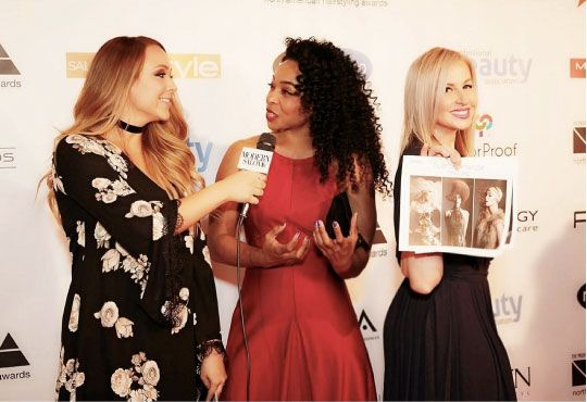 At NAHA 2016, Alison Alhamed interviews Michelle O'Connor and Dilek Onur-Taylor on the red carpet where they were both finalists.