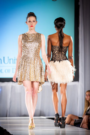 The Dominic Michael salon staff styled all model hair at the annual Washington University design school fashion show.