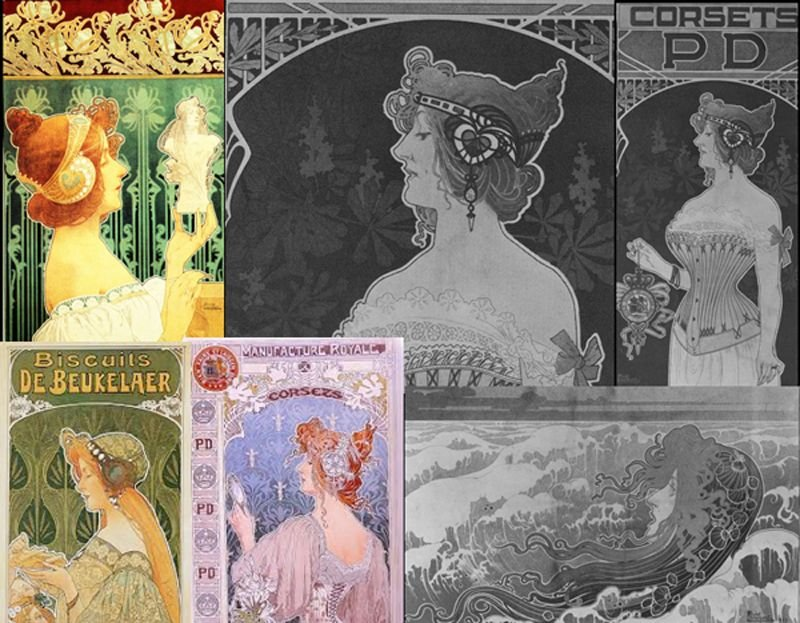 The hair accessories, fashions and the corset are interesting in these Art Nouveau Privat Livemont illustrations from the book – La Belle Époque: Masterworks by Combaz, Leo Jo and Livemont