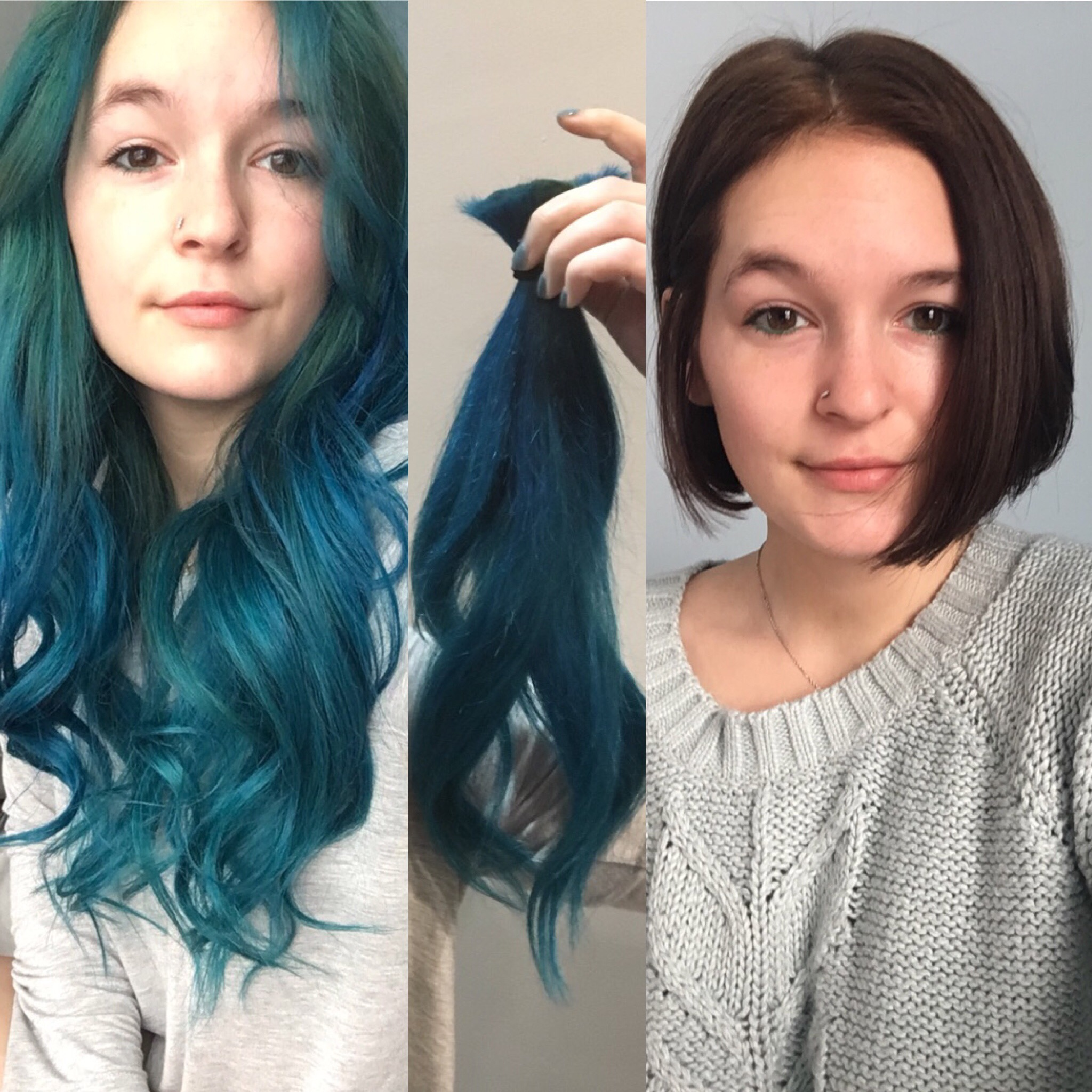 Teal To Big Chop To Tasteful Brunette Bob