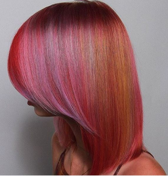 We can't get over this color and cut combo. The magenta hues blend with the orange and purple for a taffy look that's just oh-so-sweet.