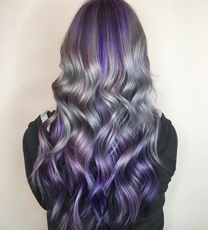 @erinmacd snagged a spot in our #playingwithpurple contest for the health, shine and beautiful color placement of the silver paired with purple. Created with Arctic Fox hair color.