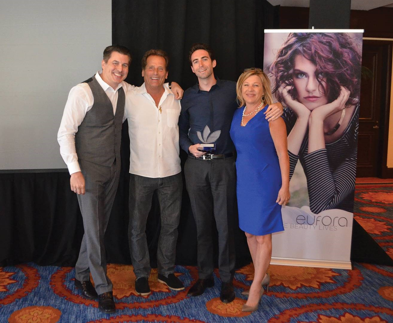 Fred Phillips of Eufora, Don Bewley of Eufora, Alex Cohn from Premier Beauty and Beth Bewley of Eufora