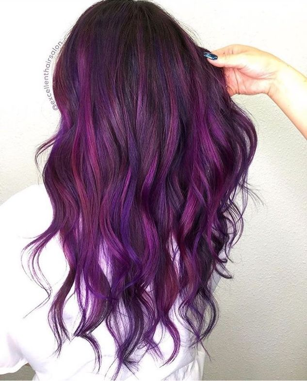 @excellenthairsalon created this shadowed, moody purple using Kenra Professional color.