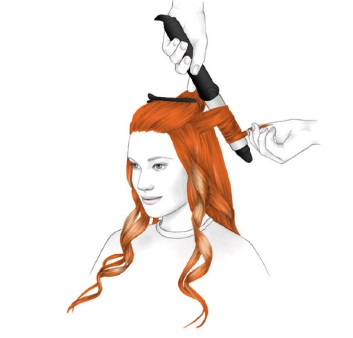 <strong>STYLING - STEP 2:</strong> Use a large curling iron to create waves. Leave out the ends.