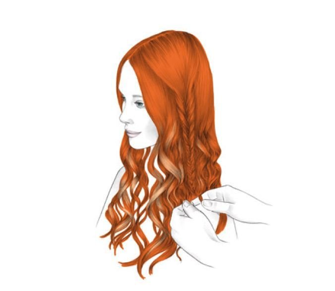 <strong>STYLING - STEP 3:</strong> On the left side, create a soft fishtail braid. Loosen the roots area to achieve a soft transition between the braid and the rest of the hair. On the right side of the nape, create a very thin fishtail braid. For both braids, use back-combing to fix the ends.