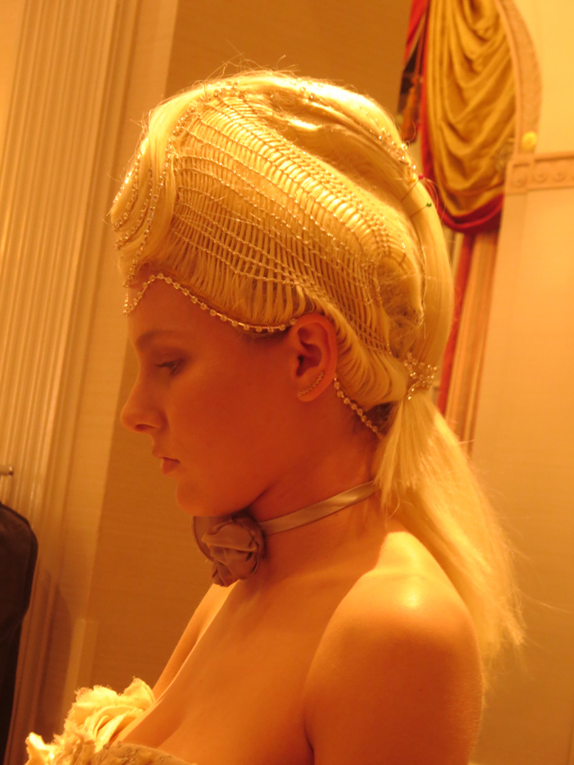 <p>Sharon Blain's avant-garde hair at the Intercoiffure Fall 2016 Atelier featured detail and hair textures not seen before, kind of 18th century but very modern, with pearls entwined in the hair.</p> Hair: Sharon Blain – ICA/Goldwell … Makeup: Cheryl Eposito/Becca … Fashion Stylist: Rod Novoa.