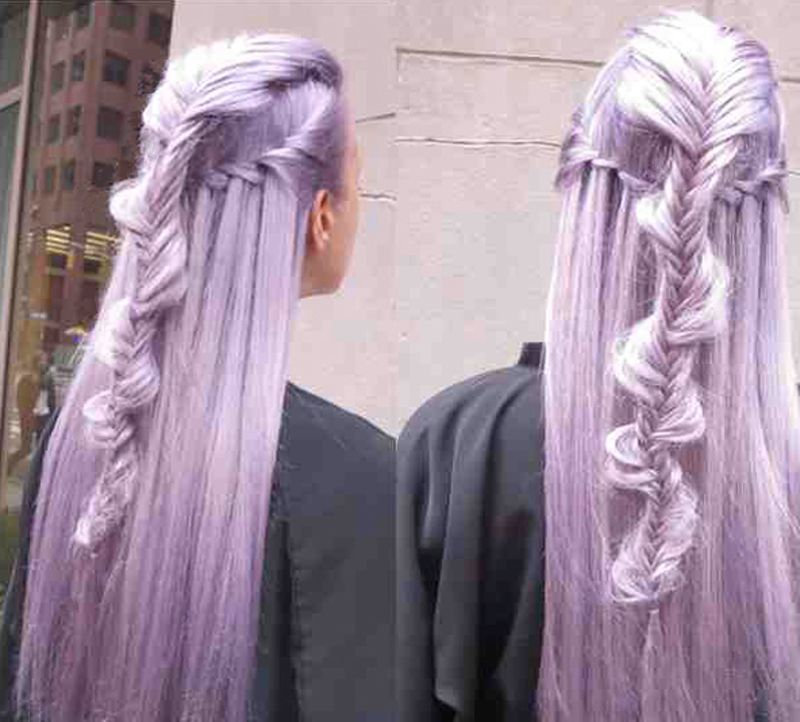 "Beautiful braiding, a ""Hair Bestie"" on violet shaded ""Metallic Obsession"" hair, by West Hollywood ""hair activist/artist""  Guy Tang.