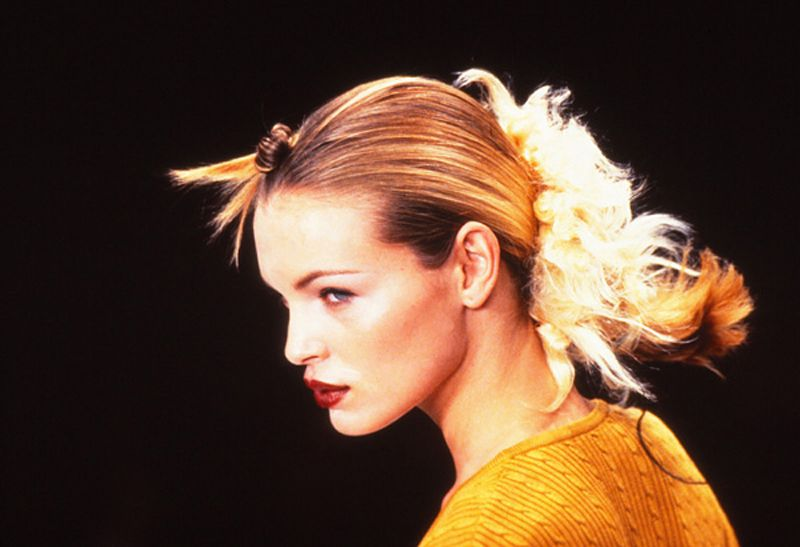 John Sahag's rugged and smooth, rough and refined, strong and soft hair by John Sahag for Cynthia Rowley's Summer 1997 New York Fashion Week Show. | Makeup: Moyra Mulholland