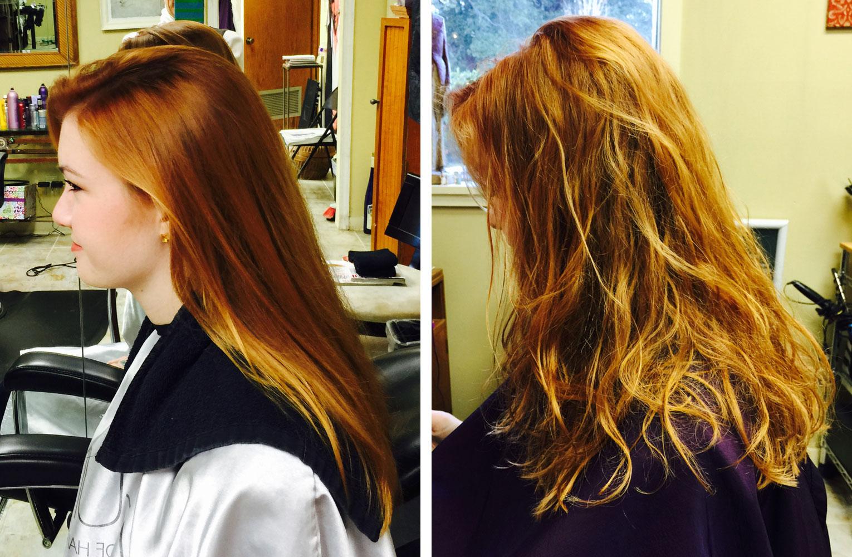 "Before/after a Keune Keratin Volume ""Wave-a-loution"" treatment. Hair by Fabian Bordelon."
