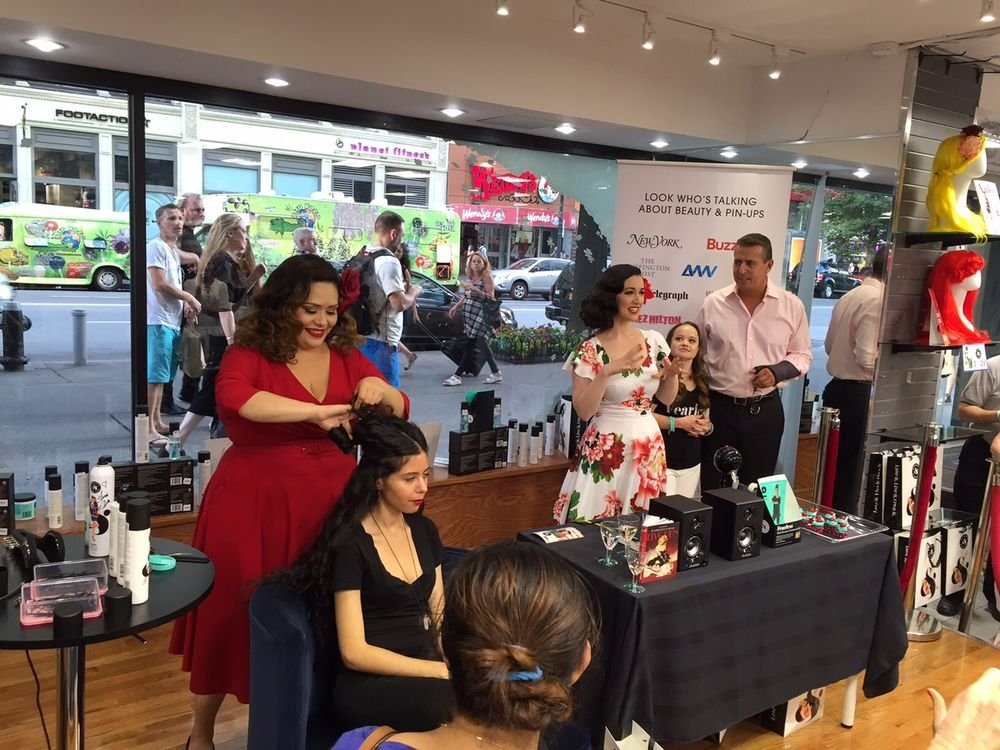 Pin-up look demonstrations by Beauty & Pin-Ups' stylists at Ricky's.