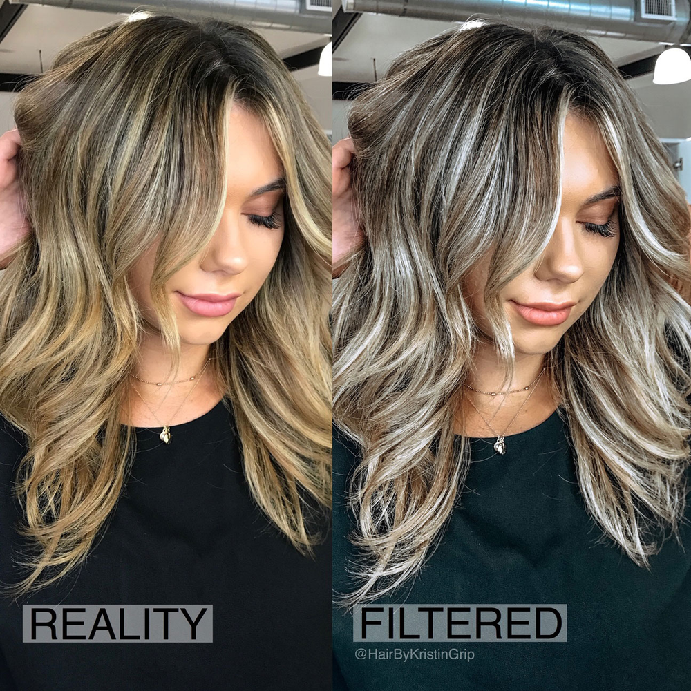 """These new filters are not as cheesy as the ones built into Instagram - they actually look believable. You can change a warm level 7 blonde into a white ashy blonde with contrasting lowlights in less than 10 seconds while somehow adding a bronze glow to your skin.""--Kristin Grip"
