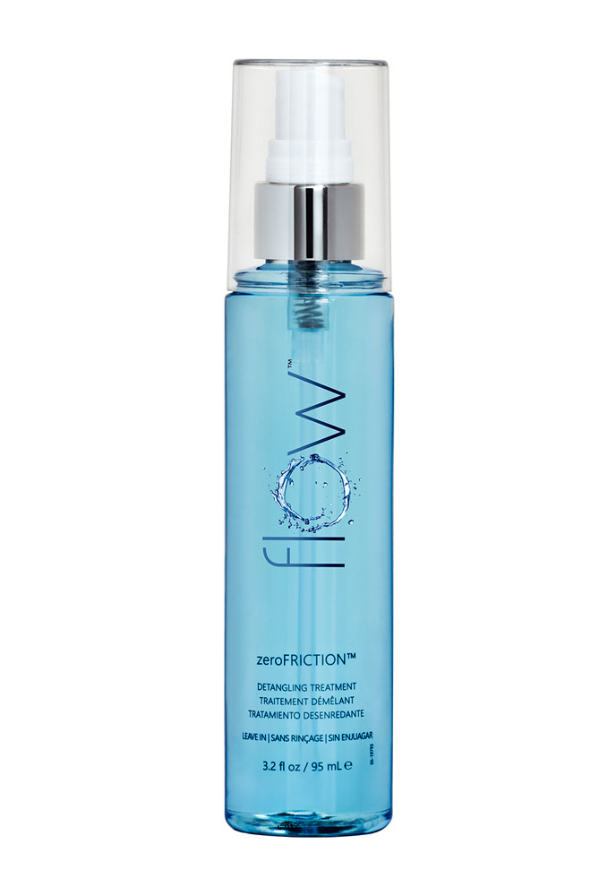 Flow Zero Friction Detangling Treatment is a nourishing and protective leave-in treatment that instantly releases tangles and defrizzes while providing luminous shine, glide, and static control to all types of hair.
