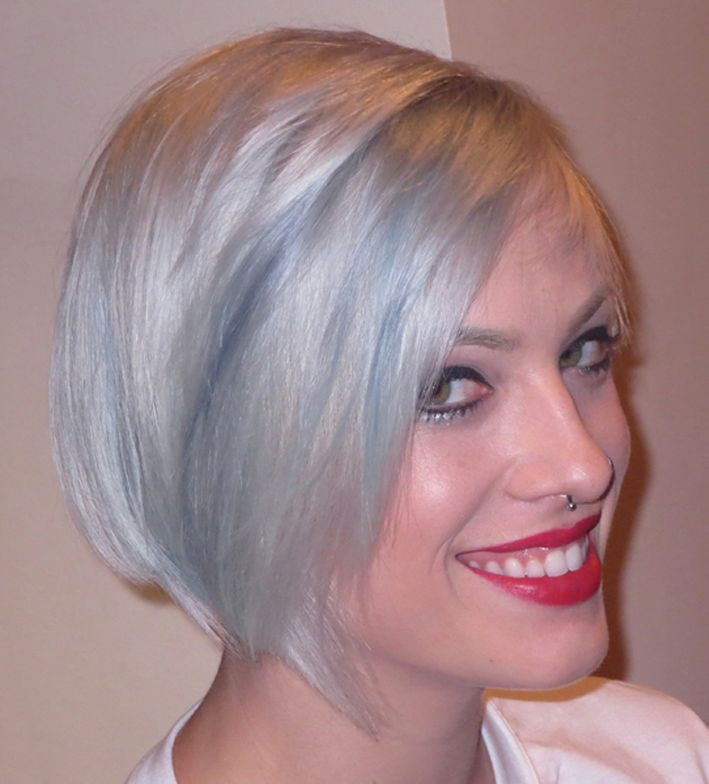 "Updated classic bob, a ""Bauhaus Bob"" and homage to bobs of the '60s and '20s, newer looking in gorgeous shades of blue greys.  By David Kinigson.