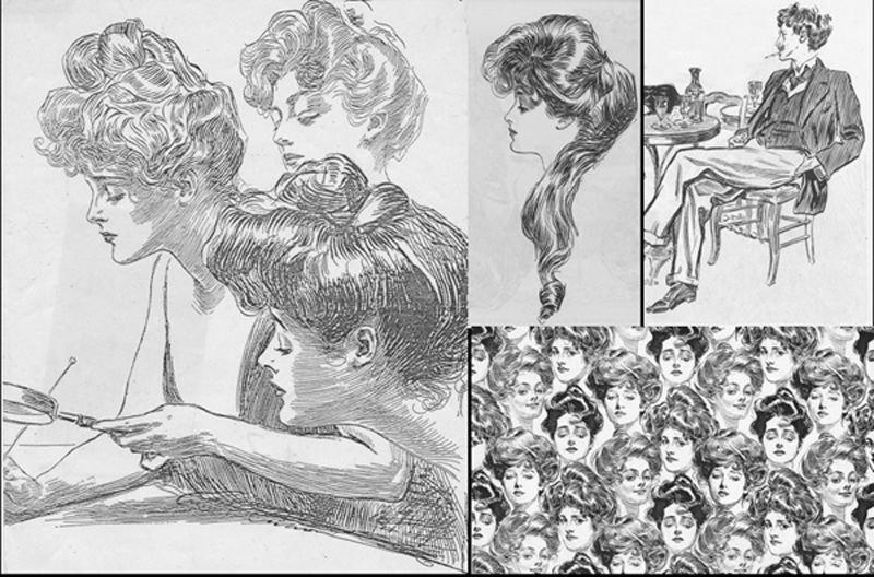 "The hair in these illustrations by American artist, Charles Dana Gibson was piled deliciously on top of the head and was one step away from the hair of Lautrecs Paris.  All the hair in his book ""The Gibson Girl and Her America"" was the rage at the time, some even being made into wallpaper - bottom right of the collage."