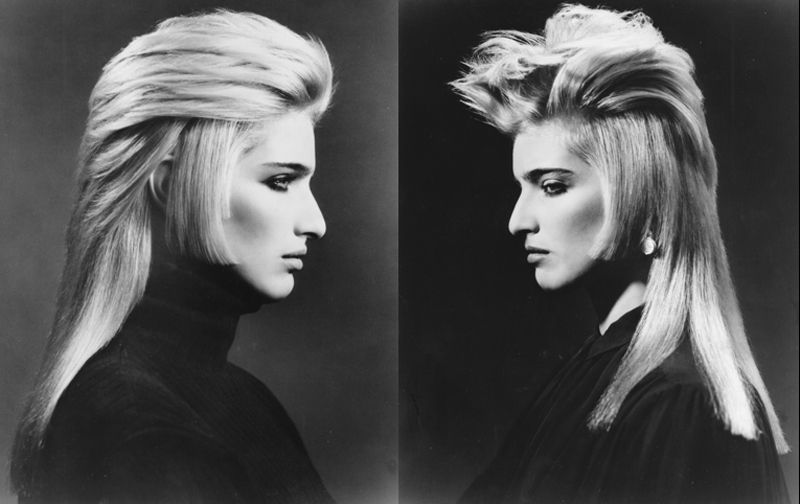From the Workshop Launch in 1985, John Sahag presented a Sideburn Collection, some with double and triple sideburn effects. The hair was longish, playful, provocative, John Sahag-style, before long hair was fashionable. | Makeup: Linda Mason | Model: Constance Chapman